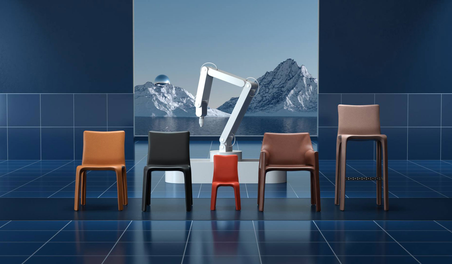 Cassina New Cab chairs designed by Mario Bellini